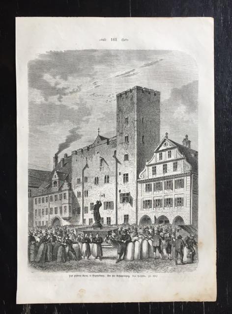 Das goldene Kreuz in Regensburg. Vor der: Puschkin.