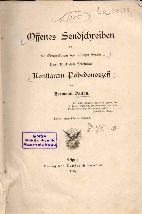 Offenes Sendschreiben an den Oberprokureur des russischen: Dalton,Hermann