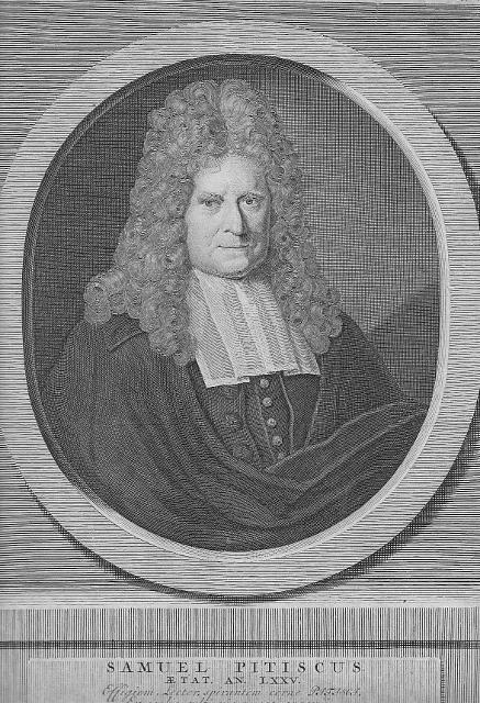 Porträt. Halbfigur im Oval. Kupferstich von P.: Pitiscus, Samuel (1637