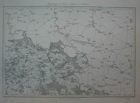 Umgebungen von Warez, Sokal und Tartaków. Kupferstich-Karte: Ukraine