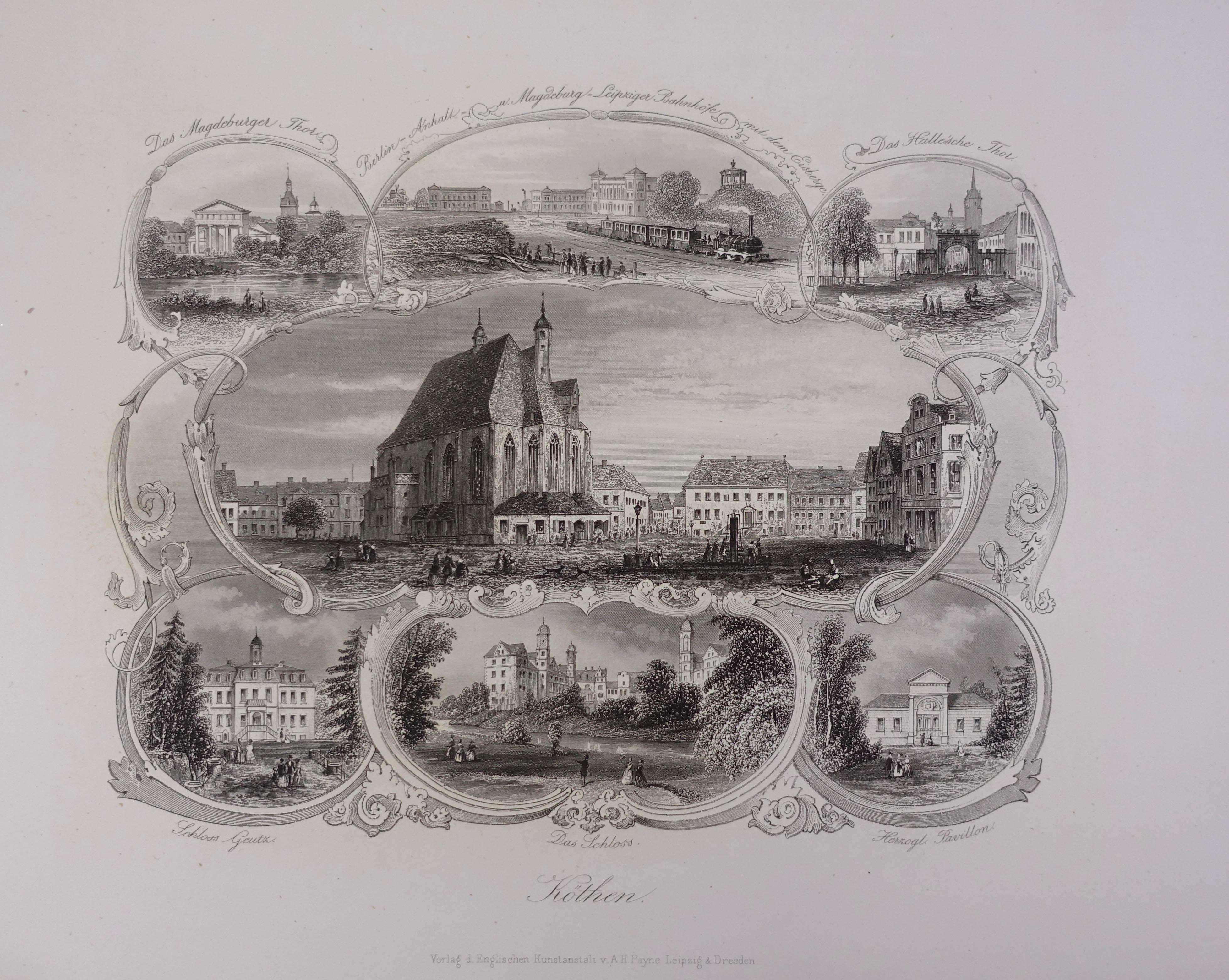 Köthen. Souvenirblatt. 7 Darstellungen auf 1 Blatt.: Köthen