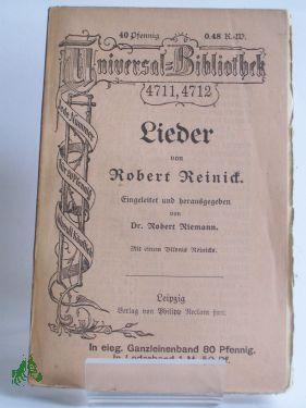 Lieder, Robert Reinick: Robert Reinick