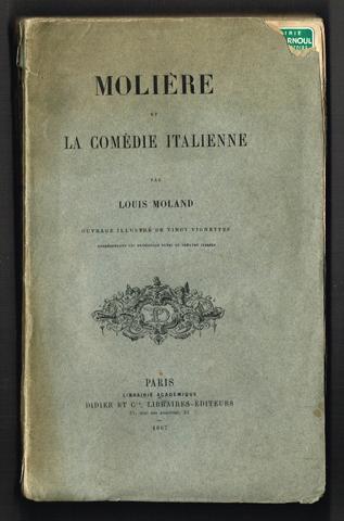 Molière et la comédie italienne. [.] Ouvrage: Molière) - Moland,