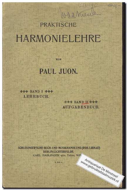 Praktische Harmonielehre Band II Aufgabenbuch: Juon, Paul