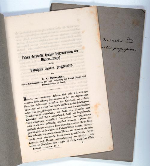 Tabes dorsalis (graue Degeneration der Hinterstränge) und: Westphal, Carl Fr.