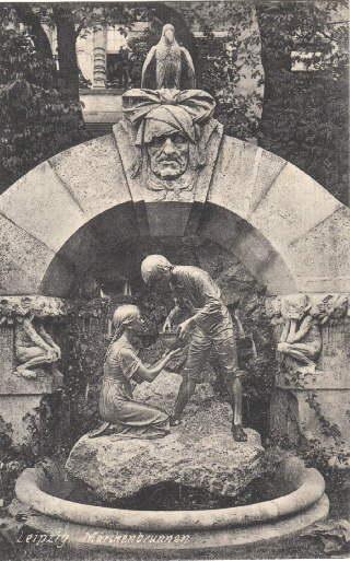 Märchenbrunnen. Ansichtskarte in Lichtdruck. Gelaufen, aber ohne: Leipzig -