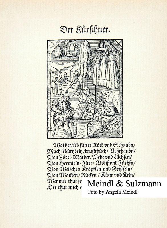 """Faksimiledruck aus Jost Amman """"Stände und Handwerker"""": Kürschner.-"""