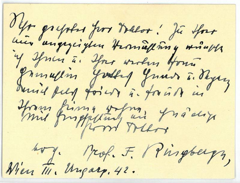 Eigenh. Brief mit U.: Ringberger, F., Präsident