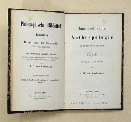 Immanuel Kant?s Anthropologie in pragmatischer Hinsicht. Herausgegeben: Kant, Immanuel -