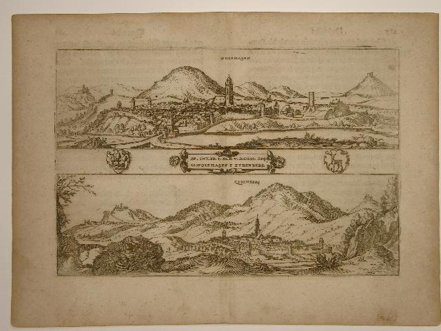 Ansicht der Ortschaften Wolfhagen und Zyrenberg (Zierenberg).: Wilhelm Dilich (Scheffern):
