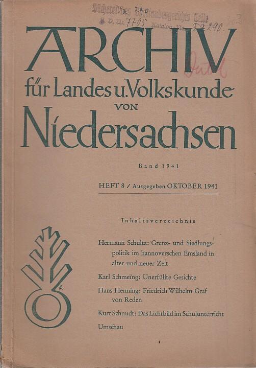 Archiv für Landes und Volkskunde von Niedersachsen.: Archiv für Landeskunde