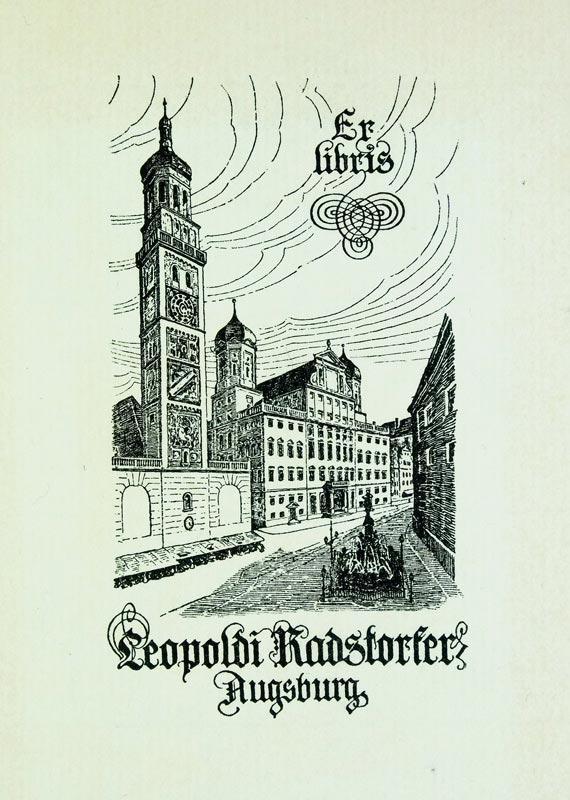 """Klischee """"Ex Libris Leopoldi Radstorfer Augsburg"""", 11,6: Zirngibl, J. (deutscher"""