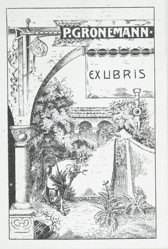 """Klischee """"Ex Libris P. Gronemann"""", 9,9 x: Wehnert, O. (deutscher"""
