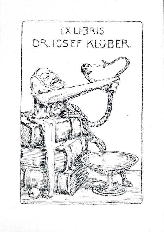 """Klischee (Zinkätzung) """"Ex Libris Dr. Josef Klüber"""",: Becker, Theo (deutscher"""