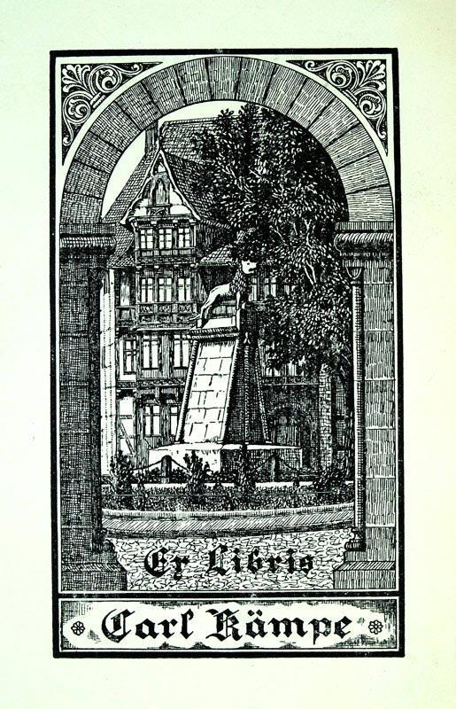 """Klischee """"Ex Libris Carl Kämpe"""", 14,2 x: Kämpe, Carl (deutscher"""