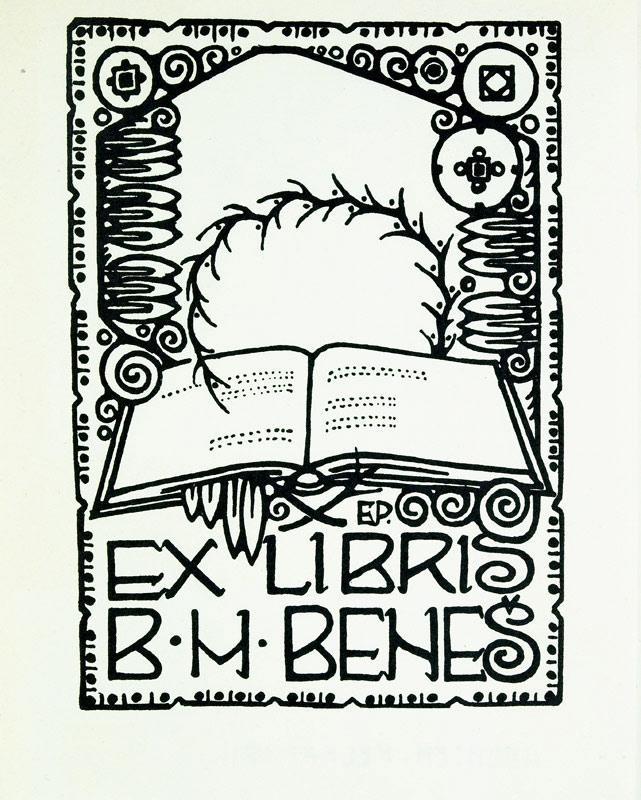 "O-Holzschnitt ""Ex Libris B.H. Benes"", 9 x: Pelant, Emil (deutscher"