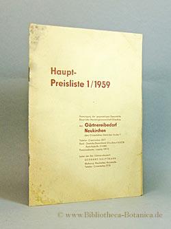 Haupt-Preisliste 1/1959. Abt. Gärtnereibedarf Neukirchen.: Hauptmann, Gerhard:
