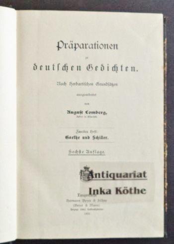 Präparationen zu deutschen Gedichten - Nach Herbartischen: Lomberg, August: