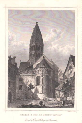 Kirche St. Foi in Schlettstadt. Stahlstich von: Schlettstadt -