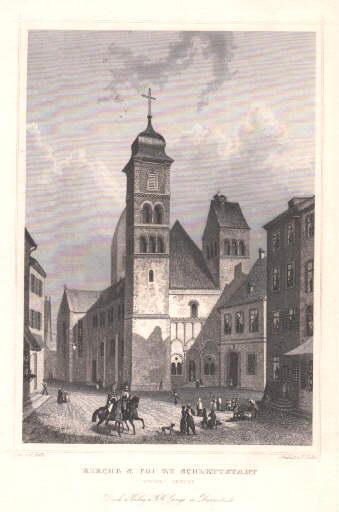 Kirche St. Foi in Schlettstadt, vordere Ansicht.: Schlettstadt -