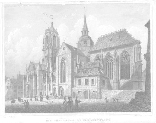 Die Domkirche zu Schlettstadt. Stahlstich von G.M.Kurz: Schlettstadt -