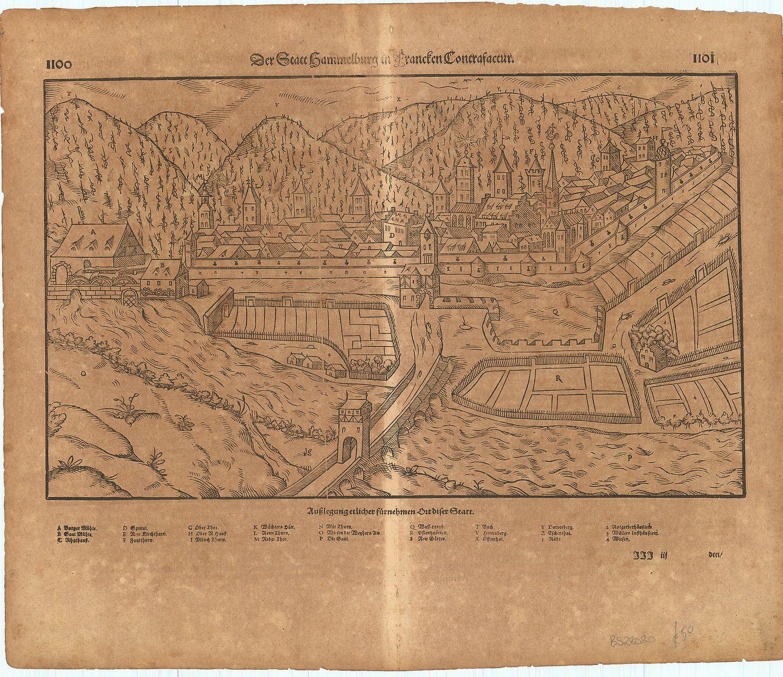 Der Statt Hammelburg in Francfen Contrafactur.: MUNSTER, Sebastian].