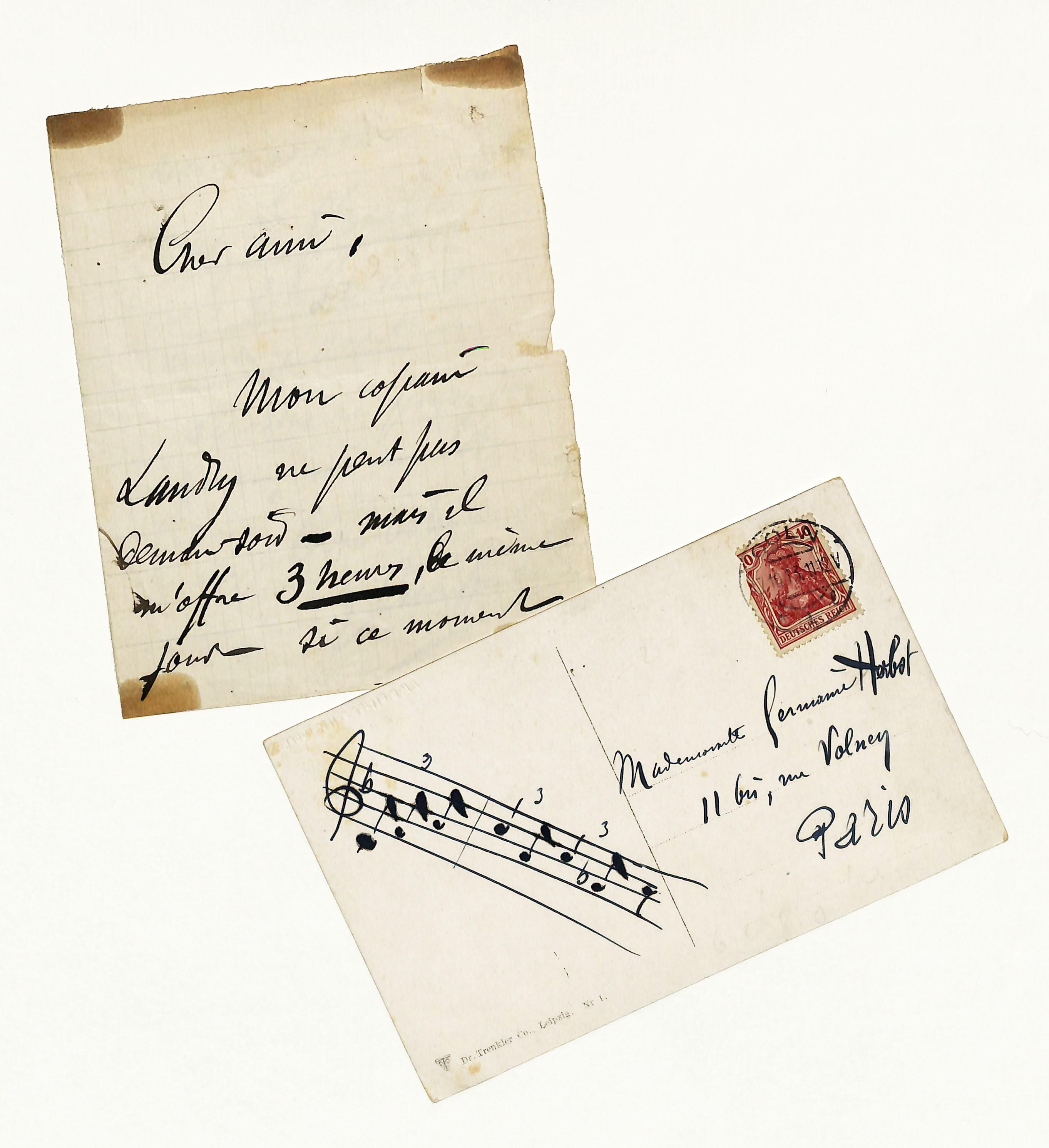 Eigenh. Brief mit U. sowie eigenh. Ansichtskarte: Charpentier, Gustave, Komponist
