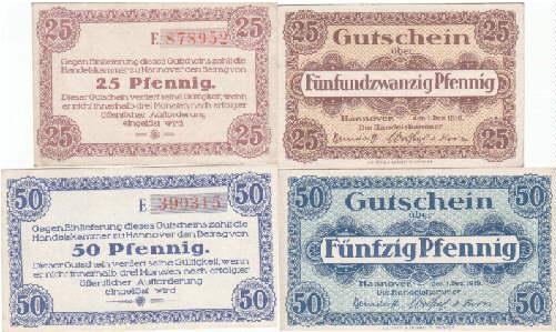 2 Gutscheine über 25 und 50 Pfennig.: Hannover -
