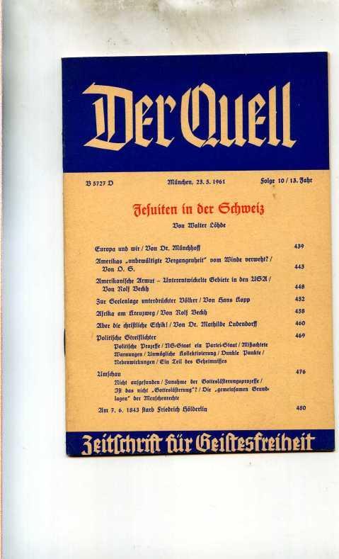 Der Quell. Zeitschrift für Geistesfreiheit.: Karg von Bebenburg,