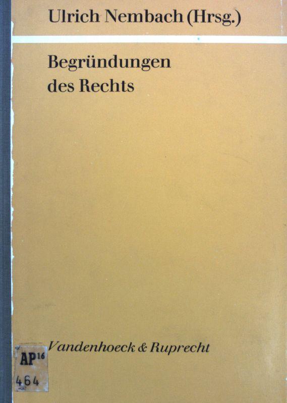 Begründungen des Rechts I; Göttinger theologische Arbeiten: Nembach, Ulrich [Hrsg.]: