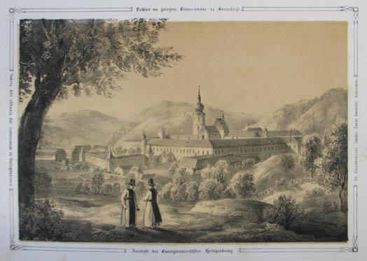 Ansicht des Cisterzienserstiftes Heiligenkreuz. Tonlithographie aus Ziegler: Heiligenkreuz