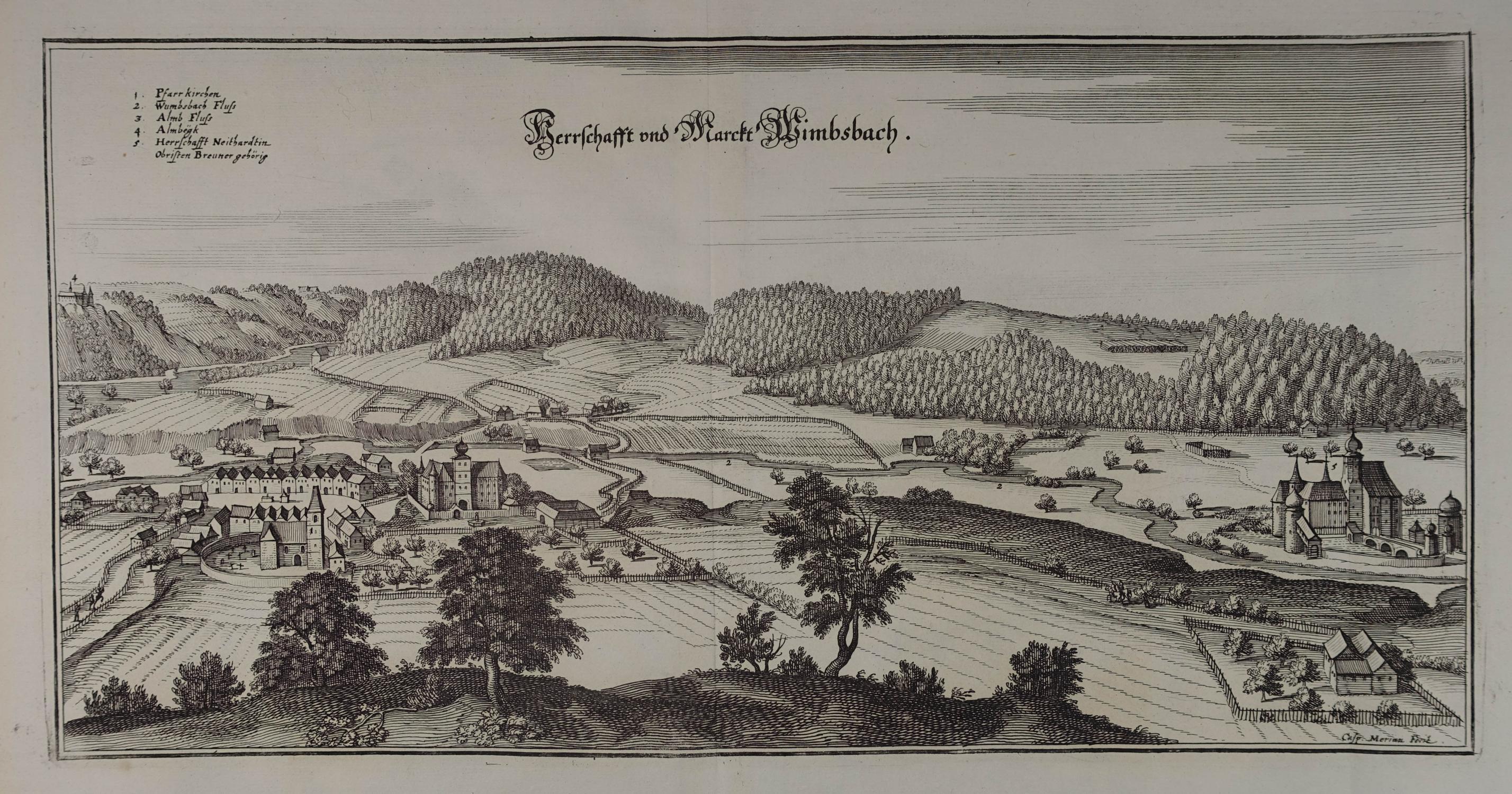 Herrschafft und Marckt Wimbsbach. Kupferstich aus M.: Bad Wimsbach -