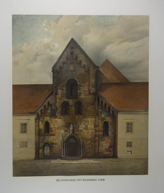 Das Cistercienser-Stift Heiligenkreuz. V.U.W.W. Farblithographie aus Conrad: Heiligenkreuz