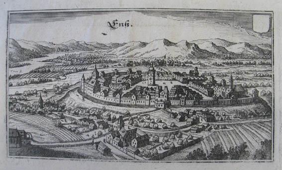 "Enß. Kupferstich aus M. Merian ""Topographia Provinciarum: Enns"