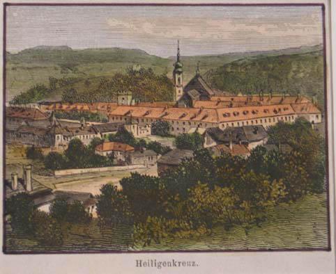 Heiligenkreuz. Kolorierter Holzstich 1883, 6 x 8: Heiligenkreuz