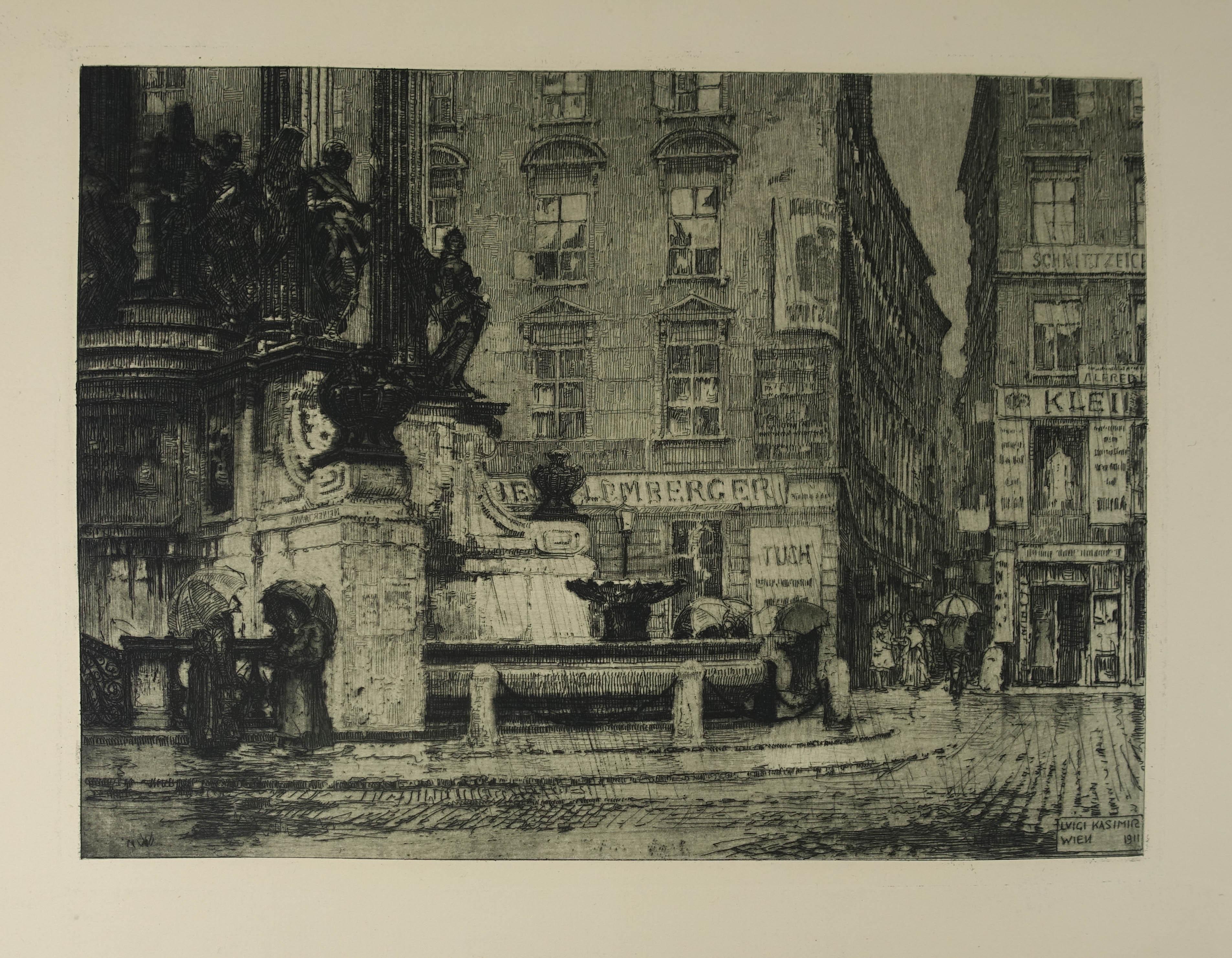 """Radierung """"Hoher Markt"""", rechts unten in der: Kasimir Luigi (1881-1962)"""