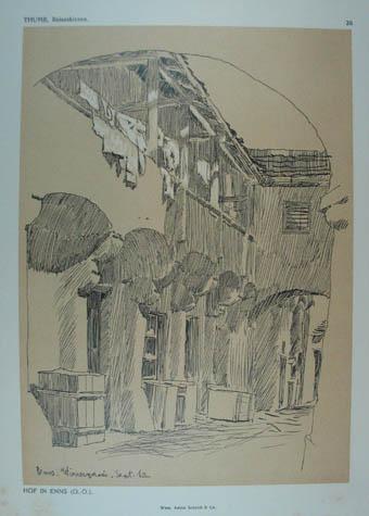 Hof in Enns. (Wienergasse). Lithographie v. E.: Enns