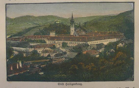Stift Heiligenkreuz. Kolorierter Holzstich um 1890, 6,5: Heiligenkreuz