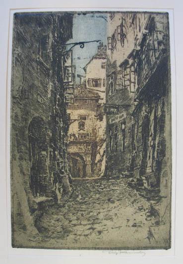 """Farbradierung """"Das Steintor"""", rechts unten eigenhändig mit: Kasimir Luigi (1881-1962)"""