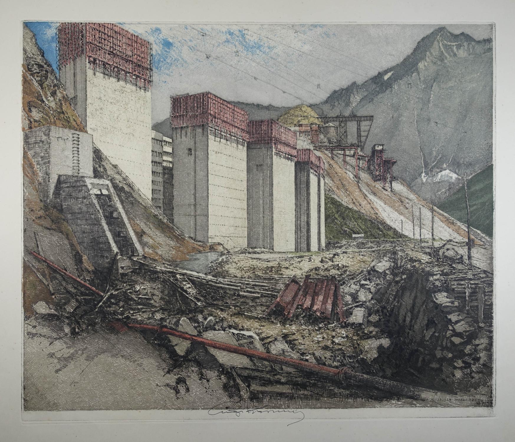 "Farbradierung ""Moserboden August 1953"" (Kaprun), Mitte unten: Kasimir Luigi (1881-1962)"