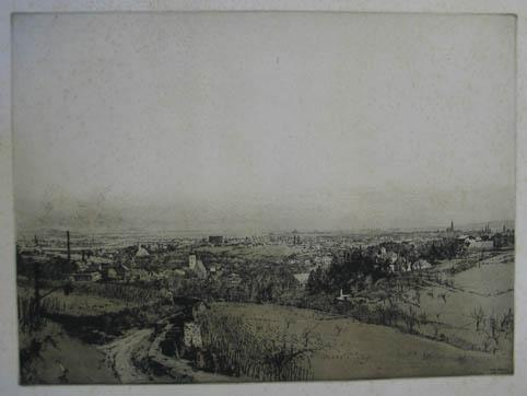"""Radierung """"Blick auf Wien"""" rechts unten in: Kasimir Luigi (1881-1962)"""