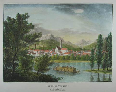 Ober Oesterreich Stadt Enns. Kolorierte Lithographie aus: Enns