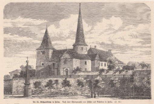 Die St. Michaelskirche in Fulda. Holzstich nach: Fulda -