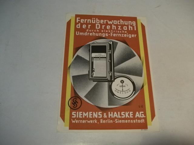 Fernüberwachung der Drehzal durch elketrische Umdrehungs-Fernzeiger.: Siemens