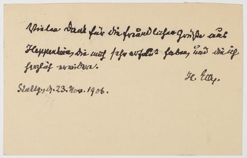 ACS - Eigenhändige Postkarte mit Unterschrift.: Eck, Heinrich v.