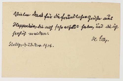 L - In seinem Namen geschriebener Brief.: Eck, Heinrich v.