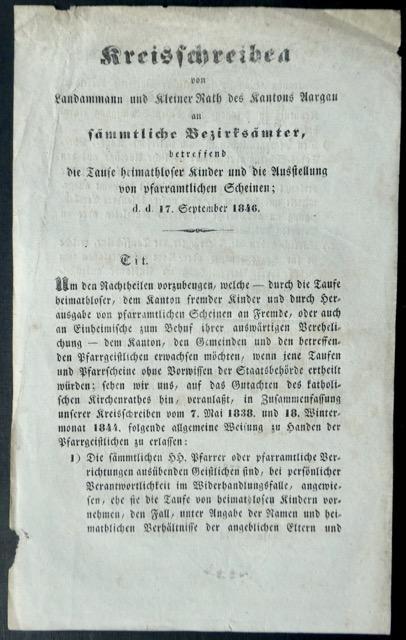 Kreisschreiben von Landammann und Kleiner Rath des: Offizielle Publikation /