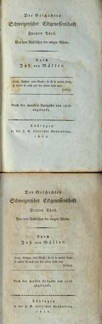 Johannes von Müller sämmtliche Werke, Zwanzigster bzw.: Müller, Johannes von