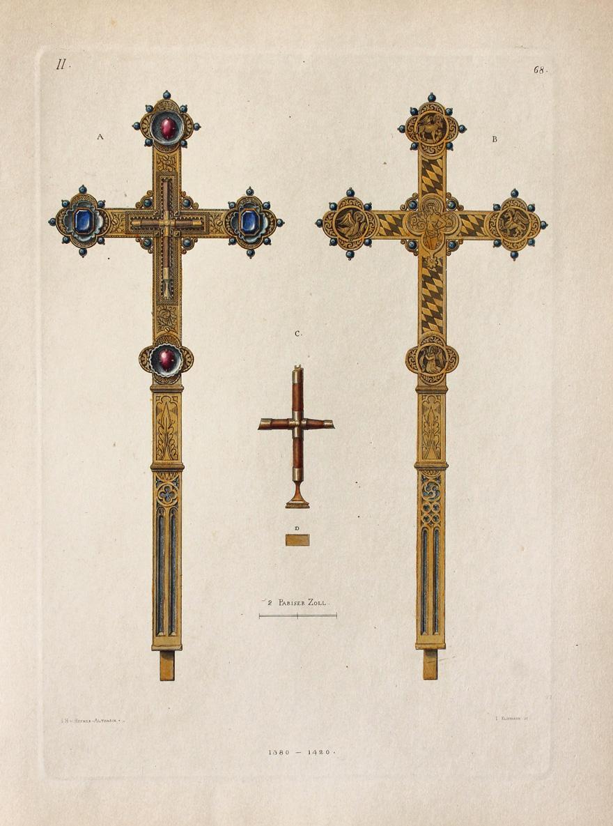 """Kreuz"""" oiginaler handkolorierter Kupferstich ca.26x19cm (Plattenrand/plate mark): Hefner-Alteneck, Jakob Heinrich"""