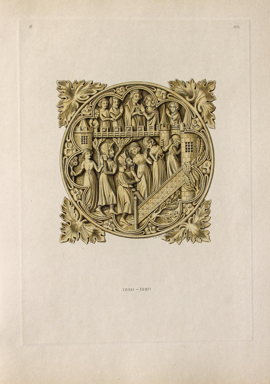 """Rückseite eines Handspiegels"""" originaler handkolorierter Kupferstich ca.26x19cm: Hefner-Alteneck, Jakob Heinrich"""